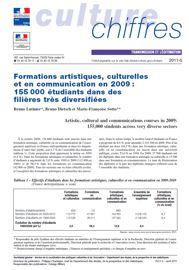 Formations artistiques, culturelles et en communication en 2009: 155000 étudiants dans des filières très diversifiées