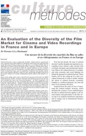 An Evaluation of the Diversity of the Film Market for Cinema and Video Recordings in France and in Europe