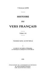 Histoire du vers français. Tome VII