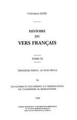 Histoire du vers français. Tome IX