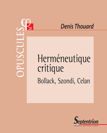 De la critique à l'interprétation. Situation de Peter Szondi